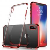Clear Color Case Gel TPU Electroplating-Galaxy A50-Red