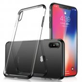 Clear Color Case Gel TPU Electroplating-Galaxy A70-Black